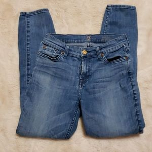 7 For All Mankind Skinny Blue Jeans sz 25